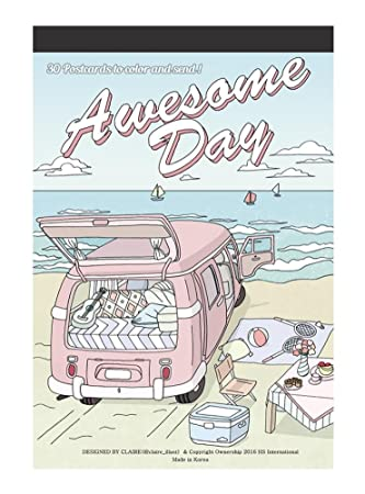 Amazon.com : Awesome day : Coloring Greeting Cards Book, 30 ...