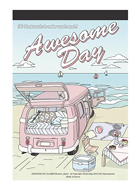 Amazon awesome day coloring greeting cards book 30 awesome day coloring greeting cards book 30 beautifully illustrated color therapy coloring postcards book m4hsunfo