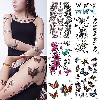 Yeeech 3d Mariposa Serie 6 Hojas Tatuajes Temporales Adhesivo Para