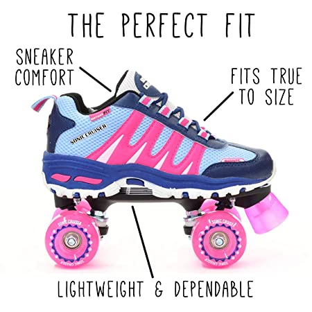 Roller Skates for Adults and Kids Sonic Cruiser Unisex Quad Roller Skates with Sneaker Shoe Style for Indoor Outdoor Skating Pink