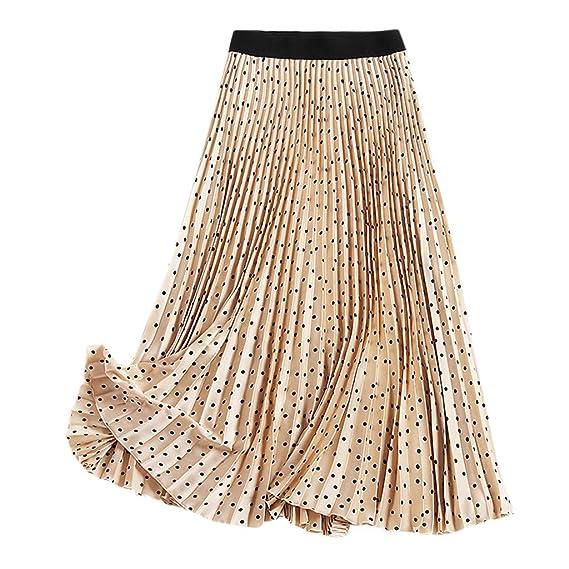 Faldas Mujer Verano Polka Dot Falda Plisada Una línea de Falda ...