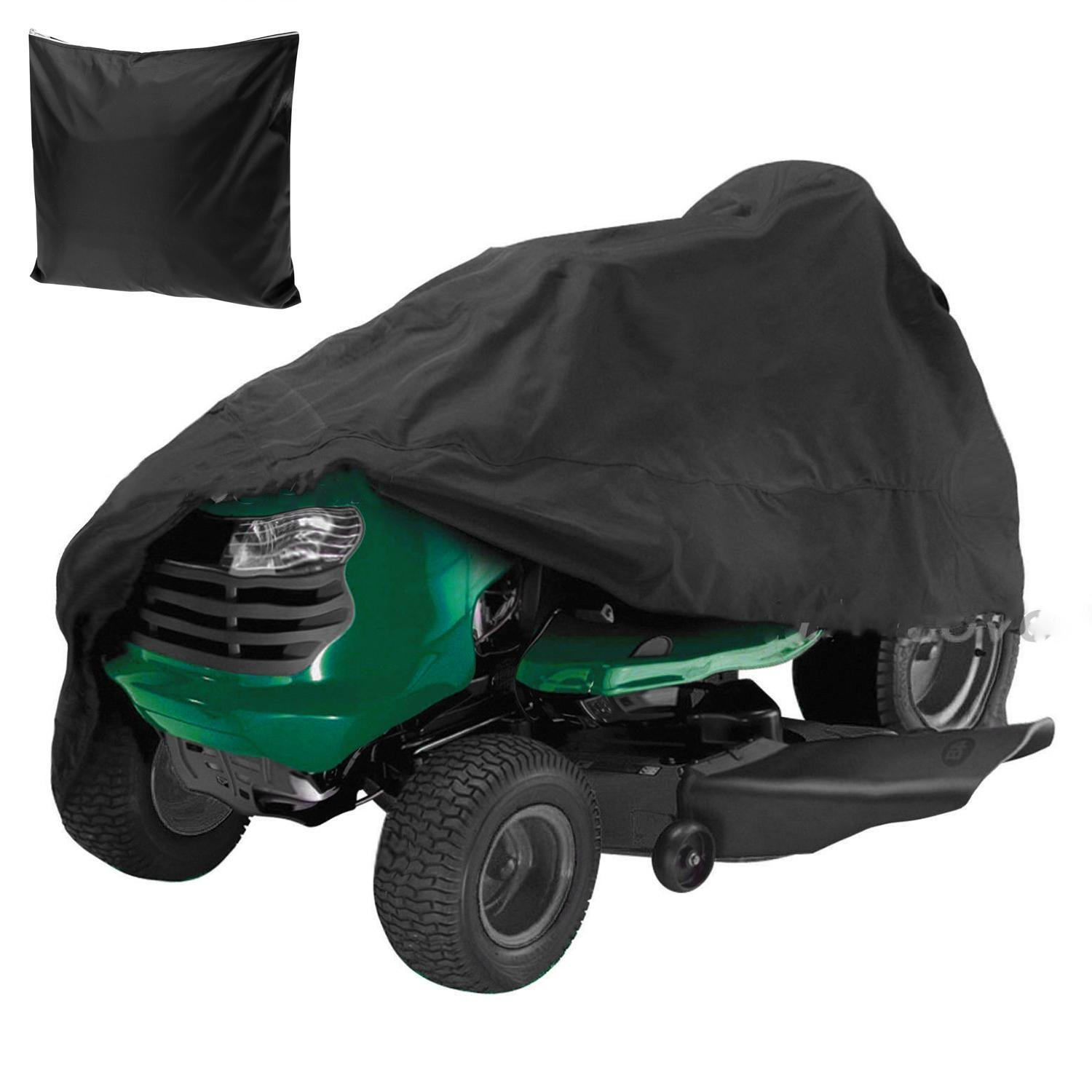 54 Inch Waterproof Garden Yard Riding Lawn Mower Cover, UV and Water Resistant Tractor Cover Black