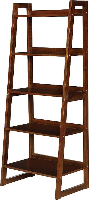 Coaster Home Furnishings 5-Shelf Ladder Cappuccino Bookcase