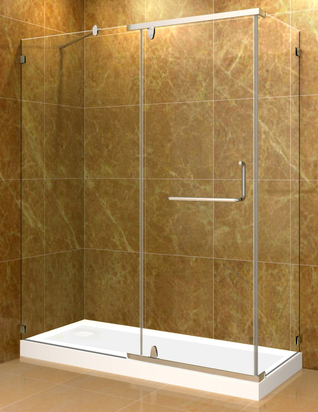 """durable service Aston SEN975-TR-60-10-L  60"""" Shower Enclosure with Left Shower Tray, Chrome Hardware, 3/8"""" (10Mm) Glass"""
