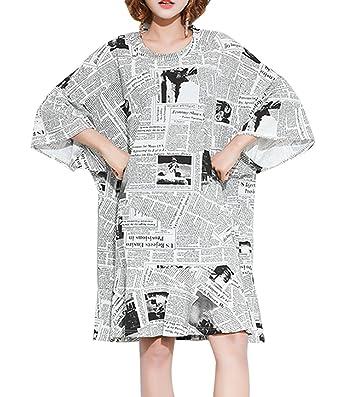 a3f28cb5 ELLAZHU Women Fashion Batwing Sleeve Newspaper Print Casual T Shirt Dresses  GA1202