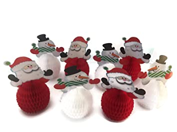 6 mini santa christmas centerpiece decorations and 6 mini snowman holiday centerpiece decorations