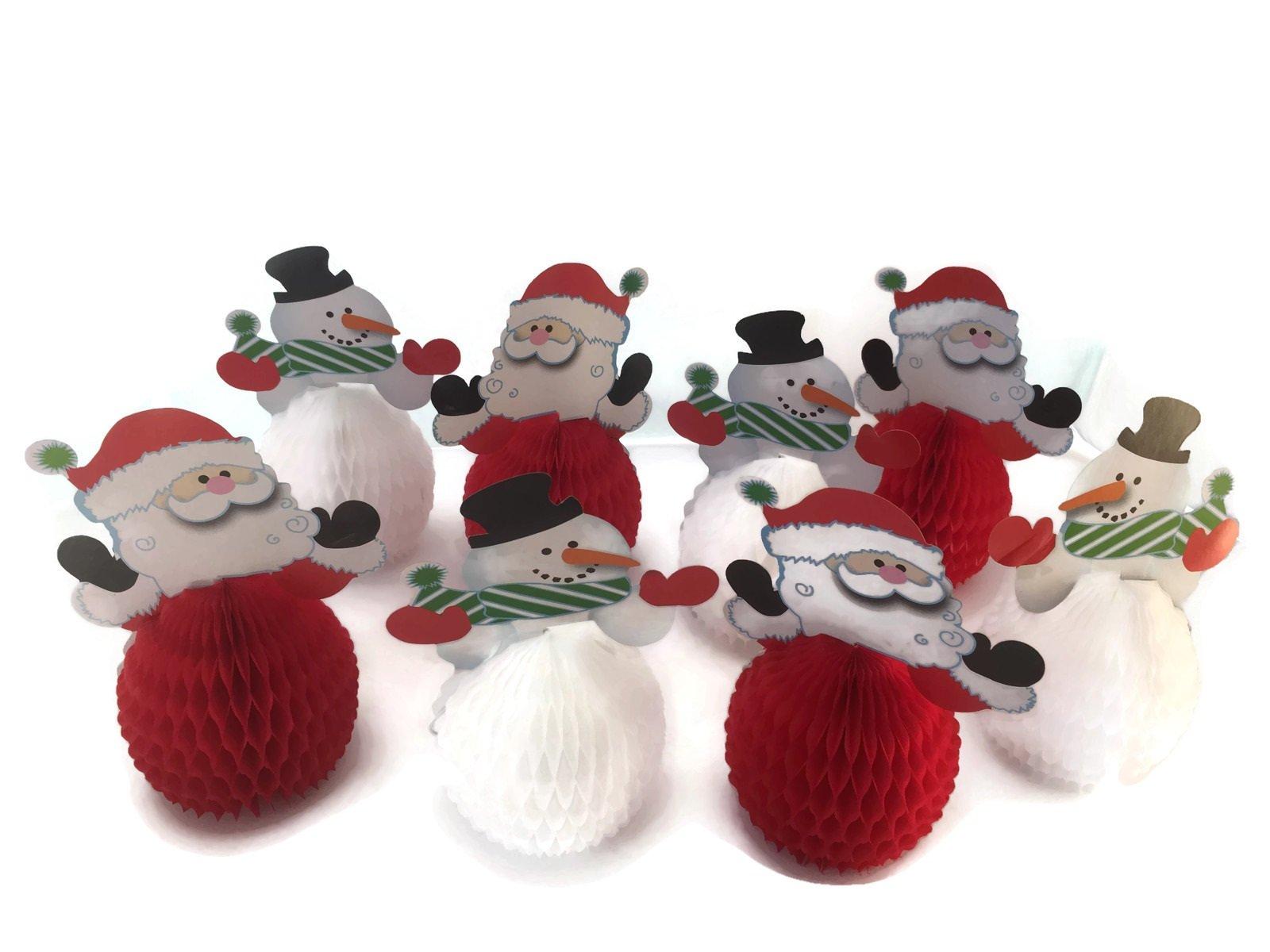 6'' Mini Santa Christmas Centerpiece Decorations and 6'' Mini Snowman Holiday Centerpiece Decorations - 8 Count Total (Santa and Snowmen)