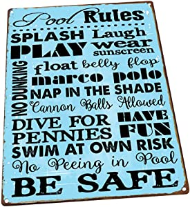 HBA Sun Protected Pool Rules Metal Sign, Guaranteed not to Fade for 4 Years, Motivational Rules, Swimming Pool Sign, Positive Thinking, Modern Decor