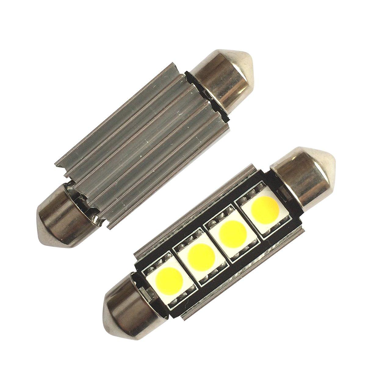 LIGHTEU®, 2xLED-Soffitte für 42mm Lampensockel mit 4 SMD LEDs Leuchtfarbe warm weiß [Energieklasse A++]
