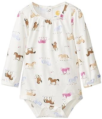 e4e2e44e7 Carhartt Baby Girls' Horse Printed Long Sleeve Bodysuit, Marshmallow, 6  Months