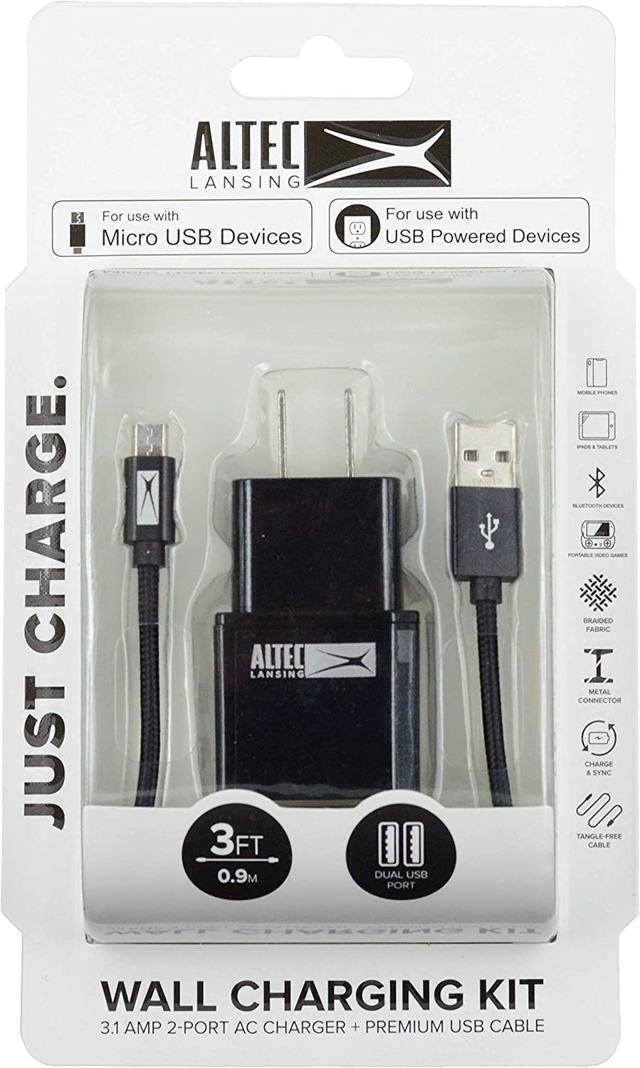 Altec Lansing Dual USB Wall Charger with 3-Foot Micro USB Cable Black