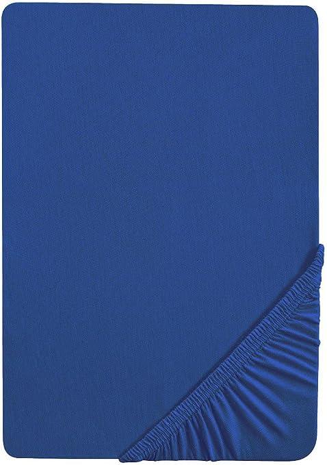 Castell 77113//288//040 Drap Housse en Jersey Stretch pour un Lit Simple Bleu Saphir 90 x 190 cm /à 100 x 200 cm