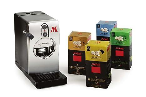 Qualità Italia - Máquina de café de monodosis tubo níquel y 72 cápsulas de café Musetti