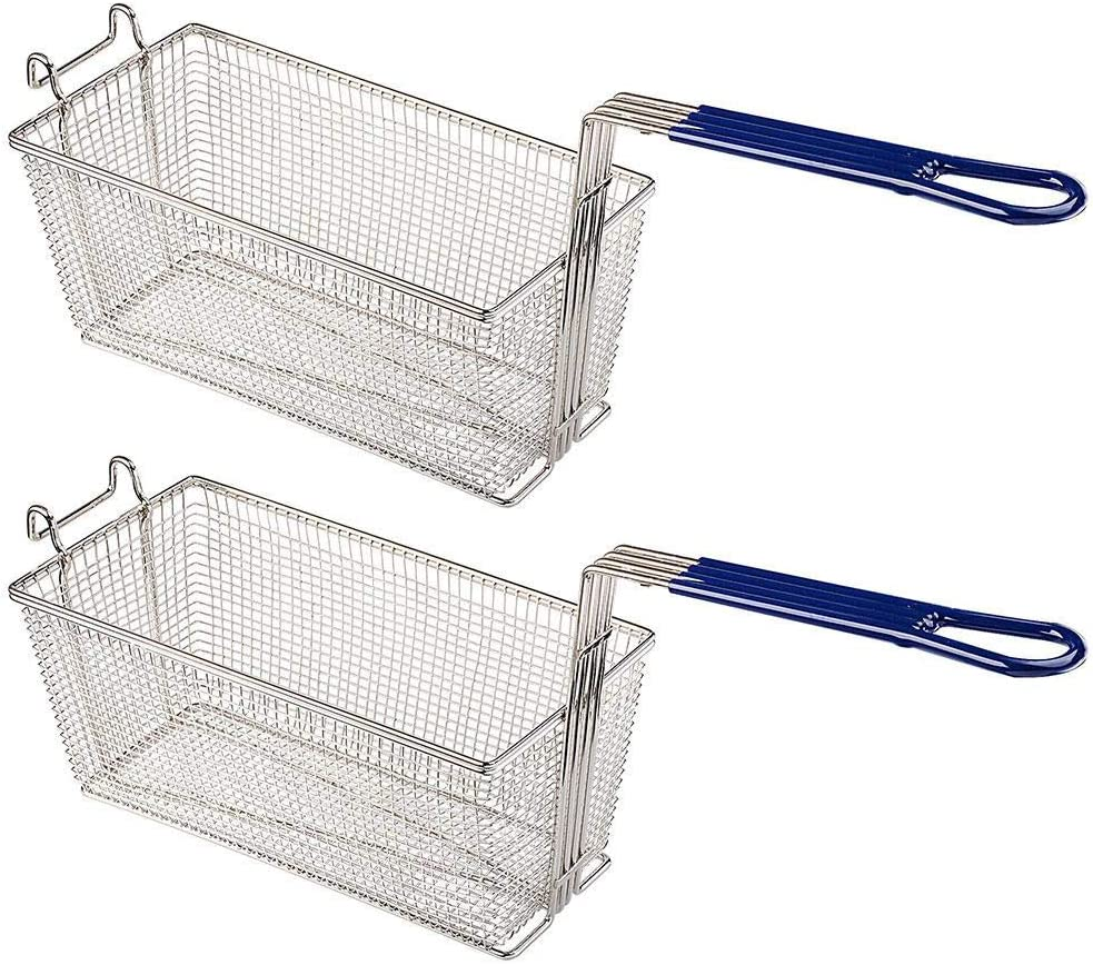2PCS Fry Baskets w/Handle & Front Hook Heavy Duty Nickel Plated Iron Construction for Commercial Home Use Deep Fryer Frying Chips Fish Sausages Samosas 13x6x6