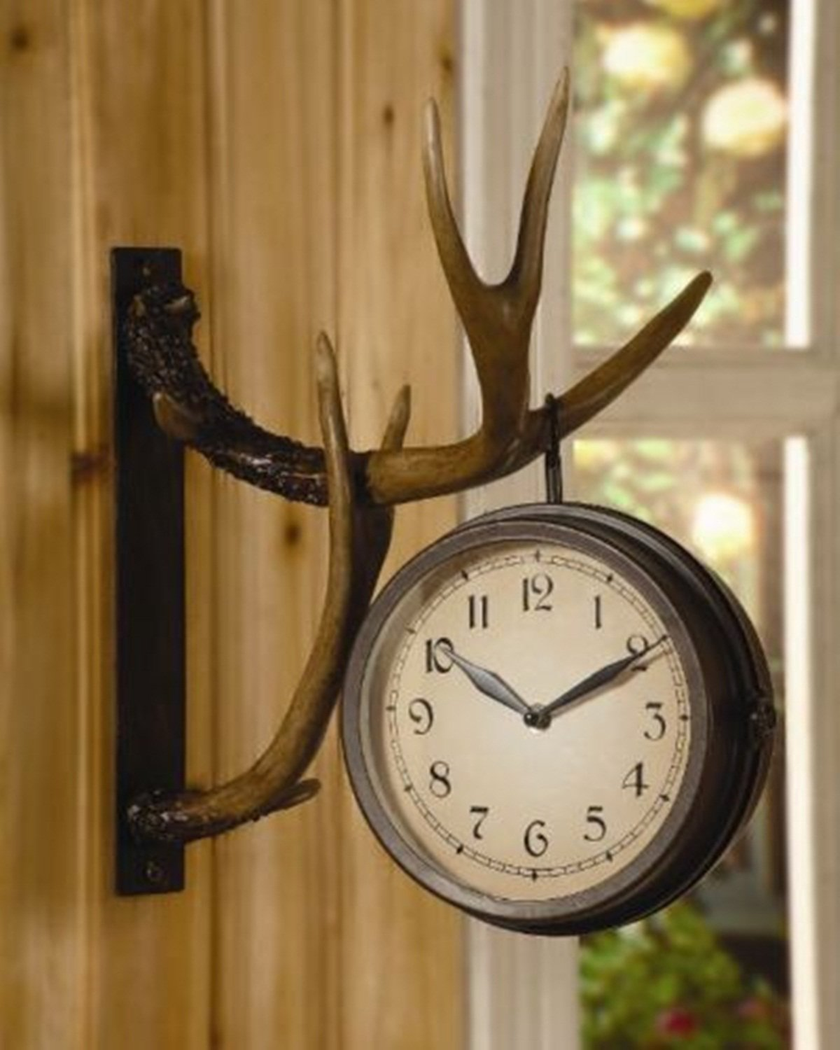 Amazon chsgjy deer park antler wall clock two sided metal amazon chsgjy deer park antler wall clock two sided metal rustic cabin lodge hunting decor office products amipublicfo Image collections