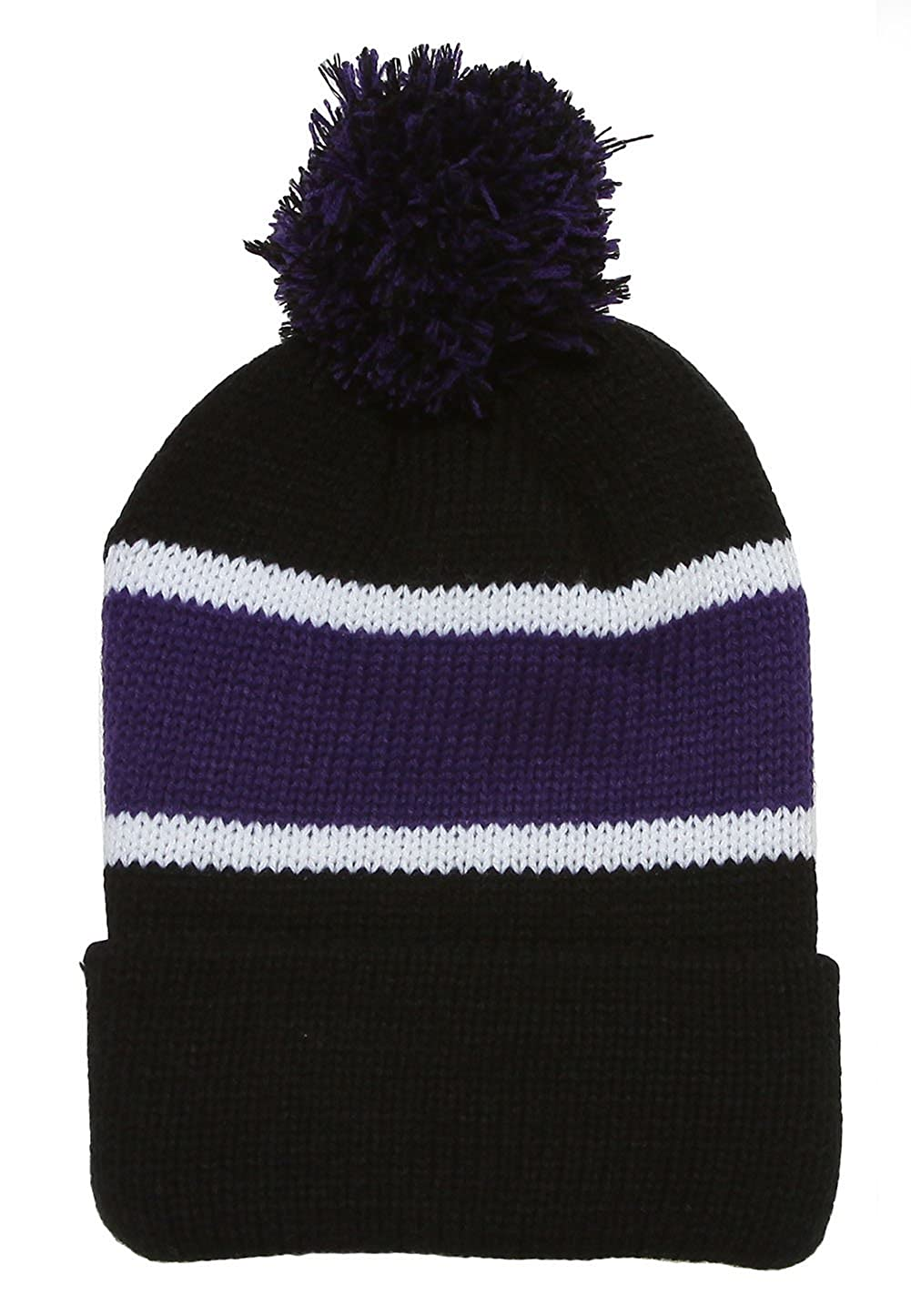 420d09ad323 TOP HEADWEAR Winter Striped Beanie with Pom - Black Green at Amazon Men s  Clothing store