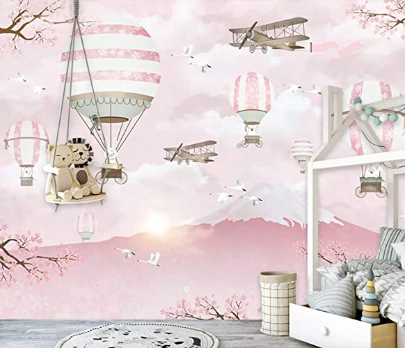 Amazon Com Murwall Kids Wallpaper Hot Air Balloon Wall Murals Pink