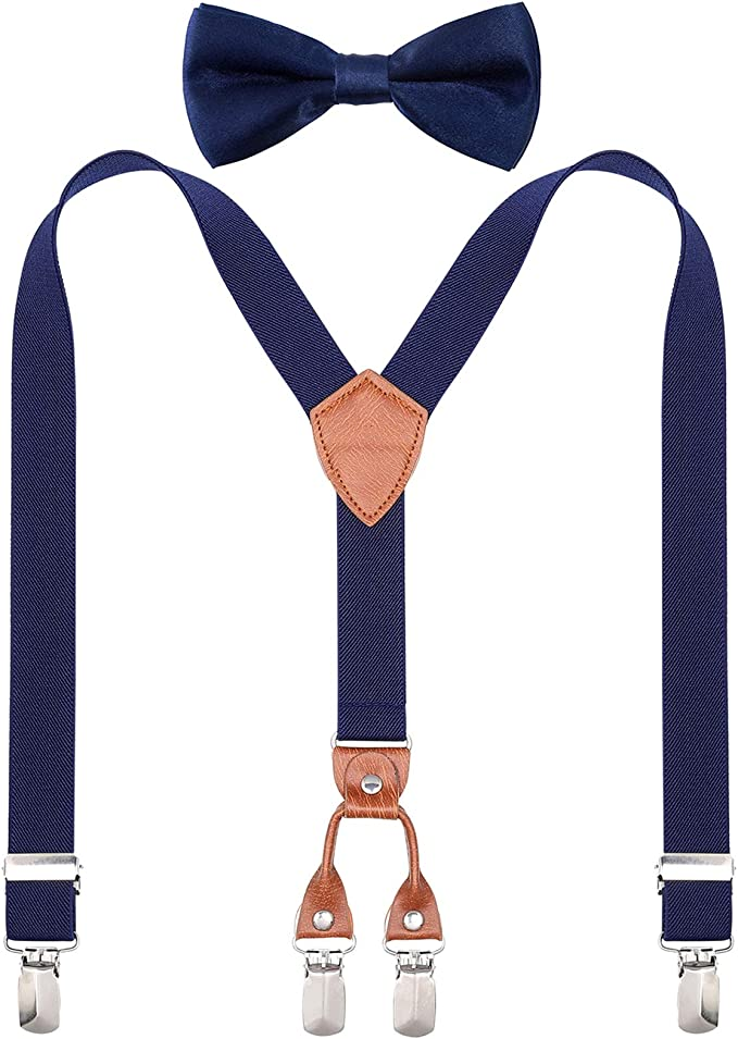 Set per bambini con bretelle regolabile papillon e cravatta