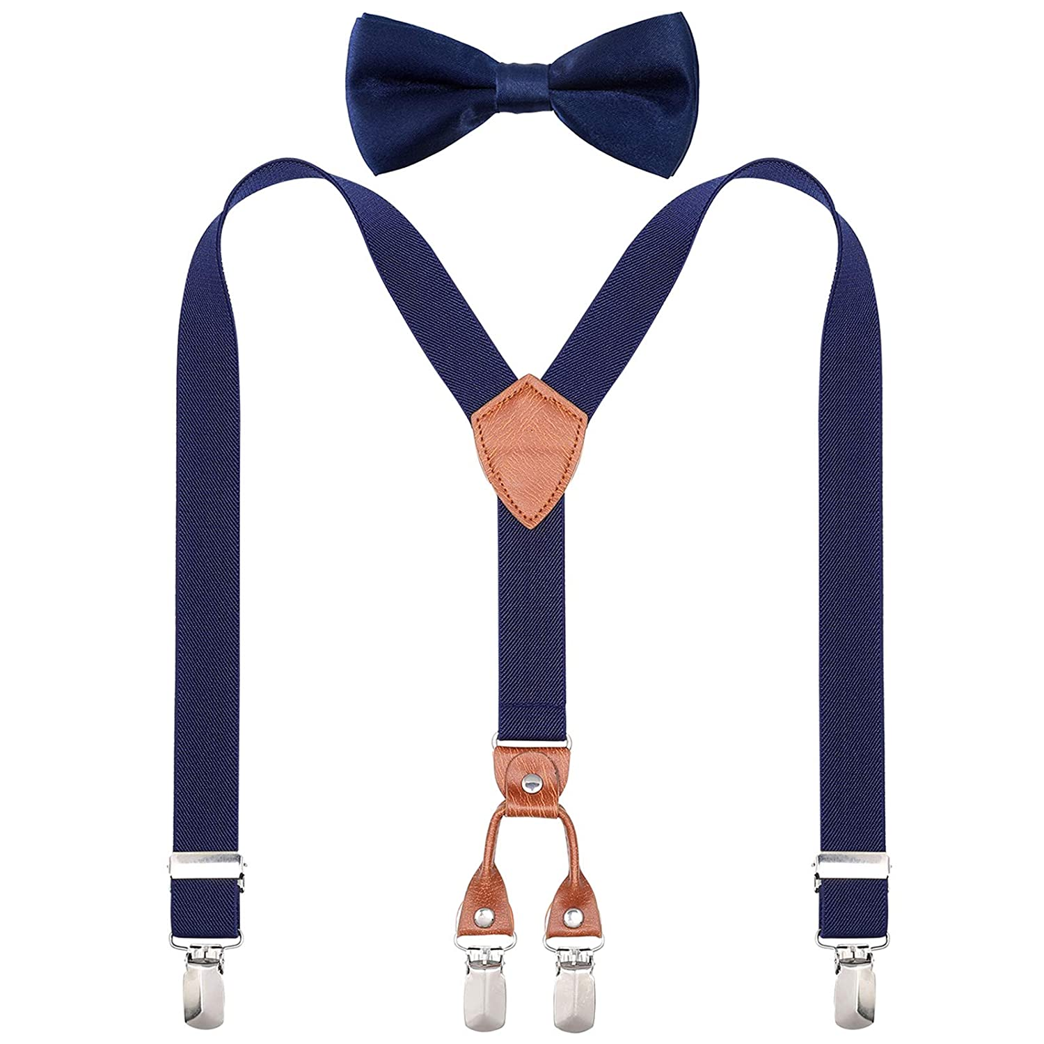 Purple, 23.6 Inch 7 Months - 3 Years Suspenders for Toddlers Kids Boys Girls Classic Adjustable Y back Elastic Leather Childrens Suspenders