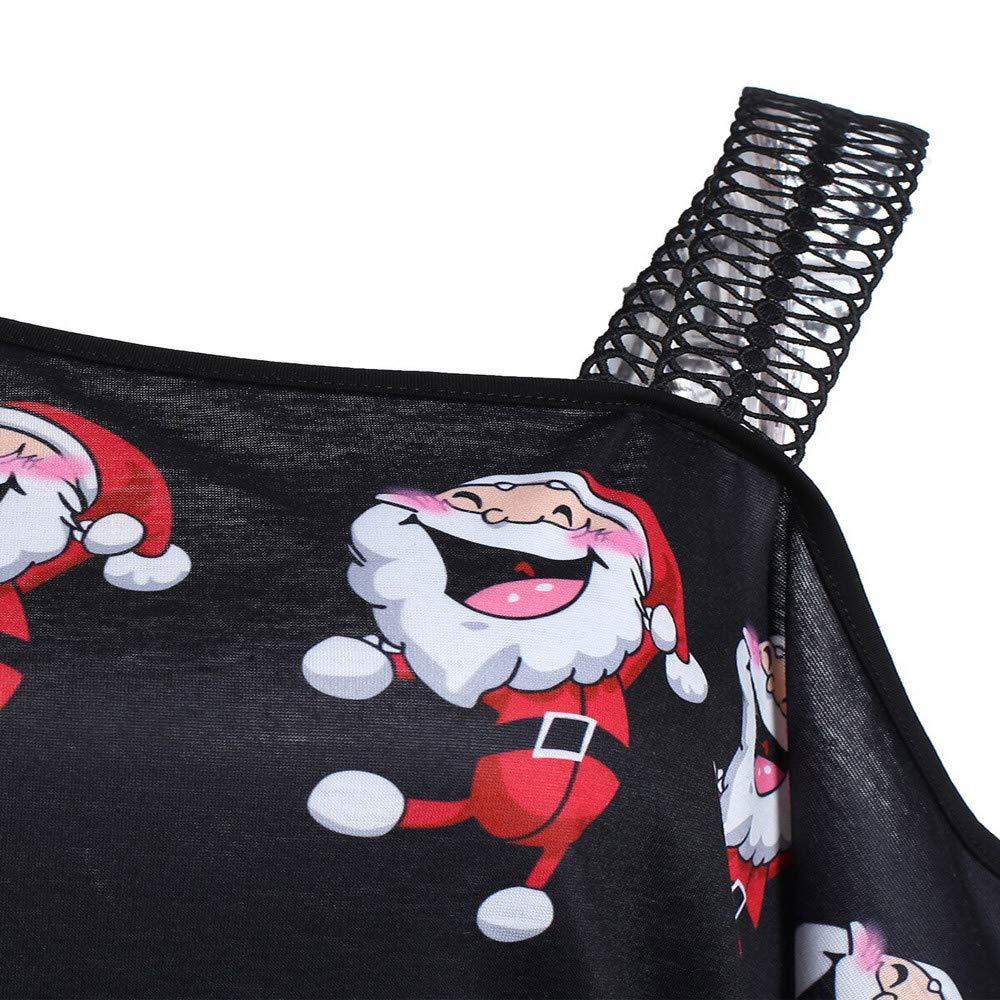 Bestow Camiseta de Manga Larga con Estampado de Manga Larga e Inclinada Fuera del Hombro para Mujer Blusa Larga de Navidad Tops: Amazon.es: Ropa y ...