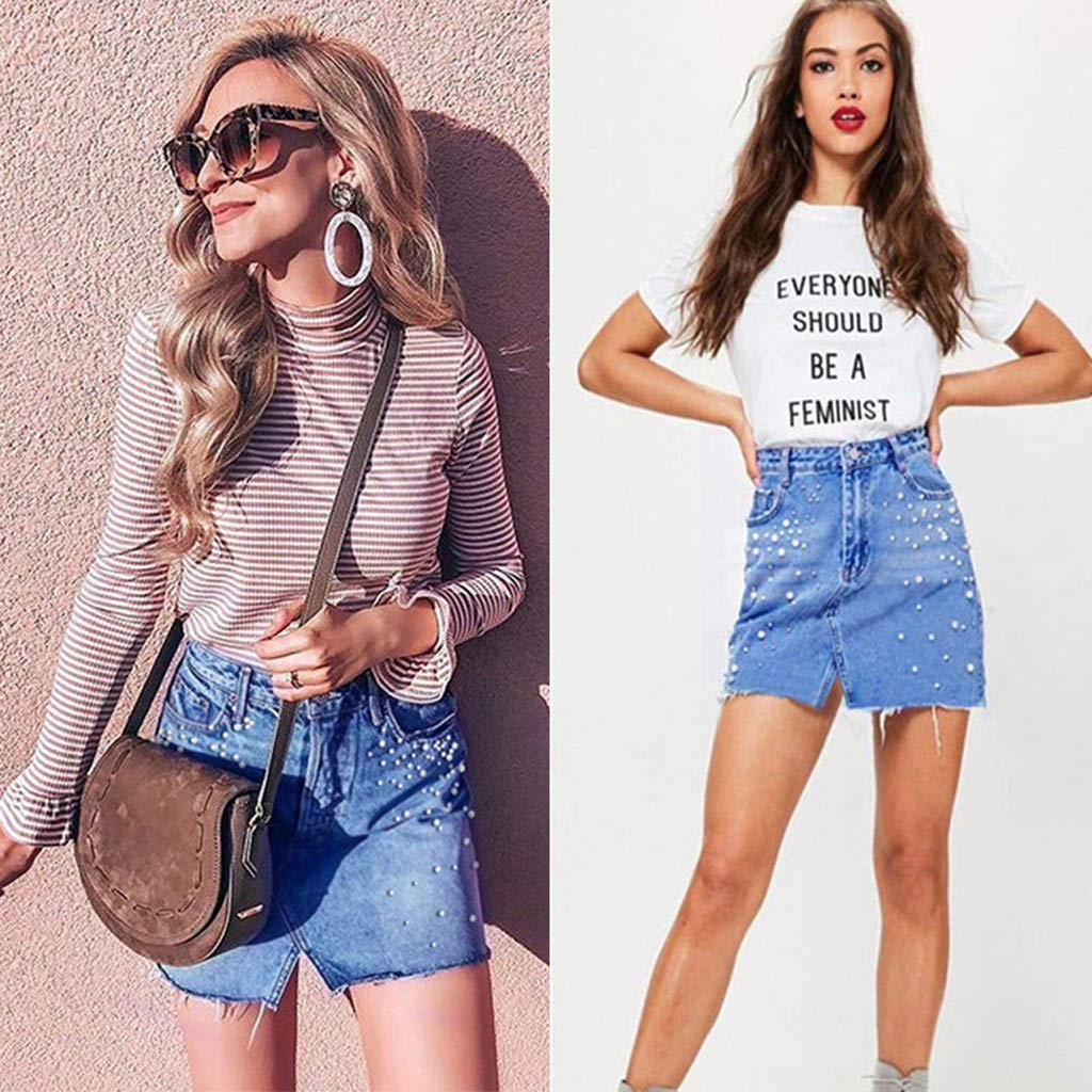 sweetnice A-Line Denim Short Skirt for Women,Ladies High Waisted Distressed Ripped Slim Fit Jean Skirt