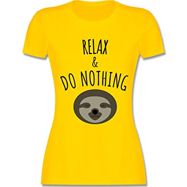 Statement Shirts - Relax & Do Nothing - Faultier - S - Gelb - L191 -
