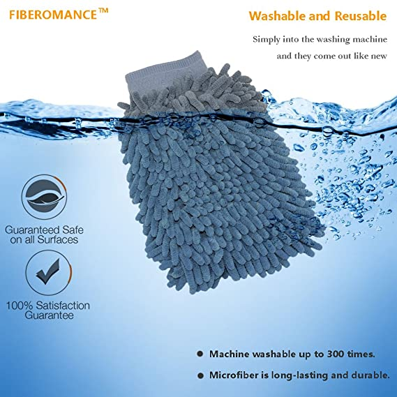 fiberomance 2 Pack Premium Ultra suave chenilla microfibra ventana de coche manopla de alta densidad Puffy dedos uso mojado o seco sin pelusa: Amazon.es: ...