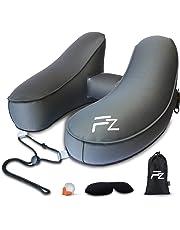 FlowZoom aufblasbares Reise Nackenkissen/Nackenhörnchen für Flugzeug, Auto, Zug, Büro - Schnell aufblasbar, Nacken- und kinnunterstützend - ideal für Lange Reisen; Set mit Kapuze