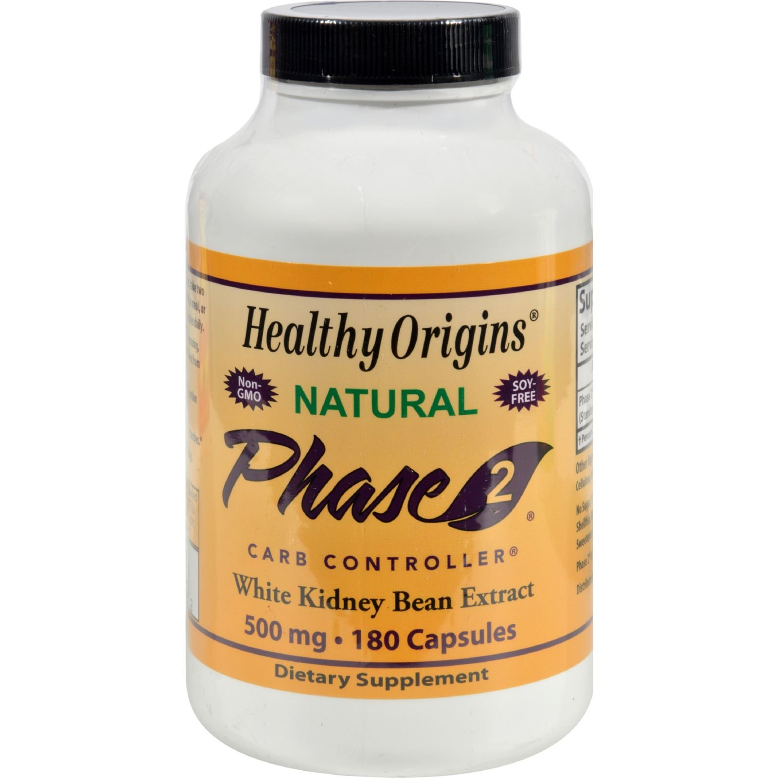 Healthy Origins Phase 2 Carb Controller - 500 mg - 180 Capsules (Pack of 2)