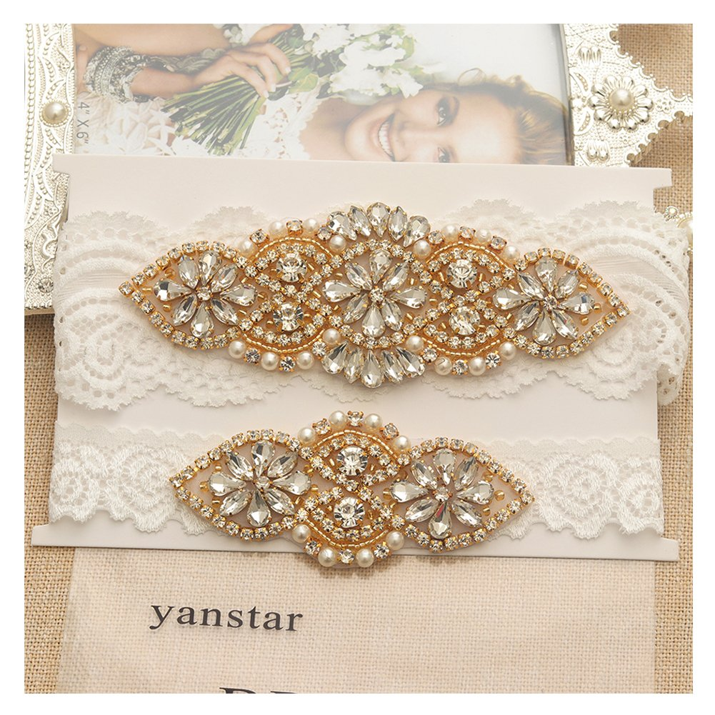 Yanstar Wedding Bridal Garter Stretch Lace Bridal Garter Sets With Rhinestones For Wedding