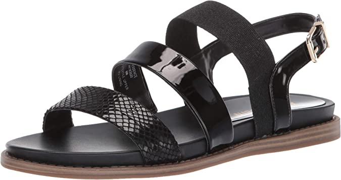 Anne Klein Women's Essence Casual Sandal Flat, Black, 5 M US