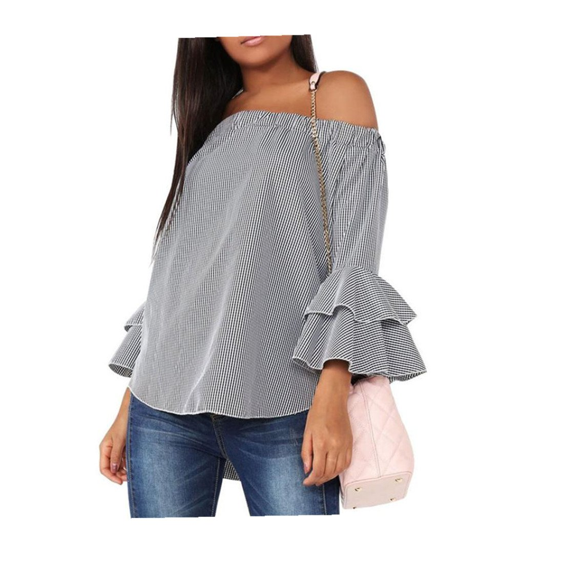 Fheaven Women Bell Long Sleeve Blouse Plaid Shirt Off Shoulder Tops (XL, Gray)