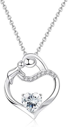 Milacolato 925 Sterling Silber Generationen Herz Halskette für Oma Mom Enkelin Ewigkeit Halskette mit Geschenkbox für Geburtstag Muttertag