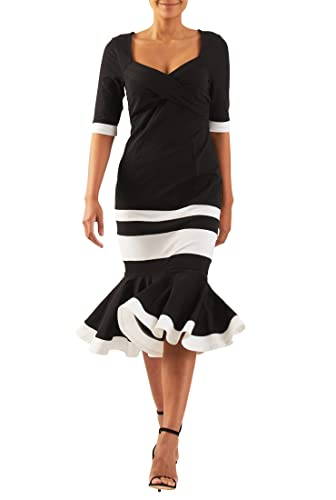 eShakti Women's Colorblock cotton knit flounce hem dress