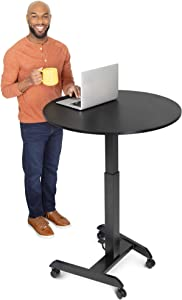 Stand Steady Height Adjustable Round Table & Multifunctional Mobile Workstation   Portable Standing Desk with Pneumatic Air Lift   Collaborative Workspace for School & Office   Easy Assembly (Black)