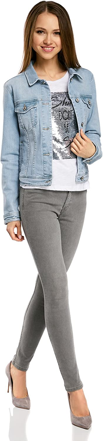 oodji Ultra Donna Giacca in Jeans con Tasche