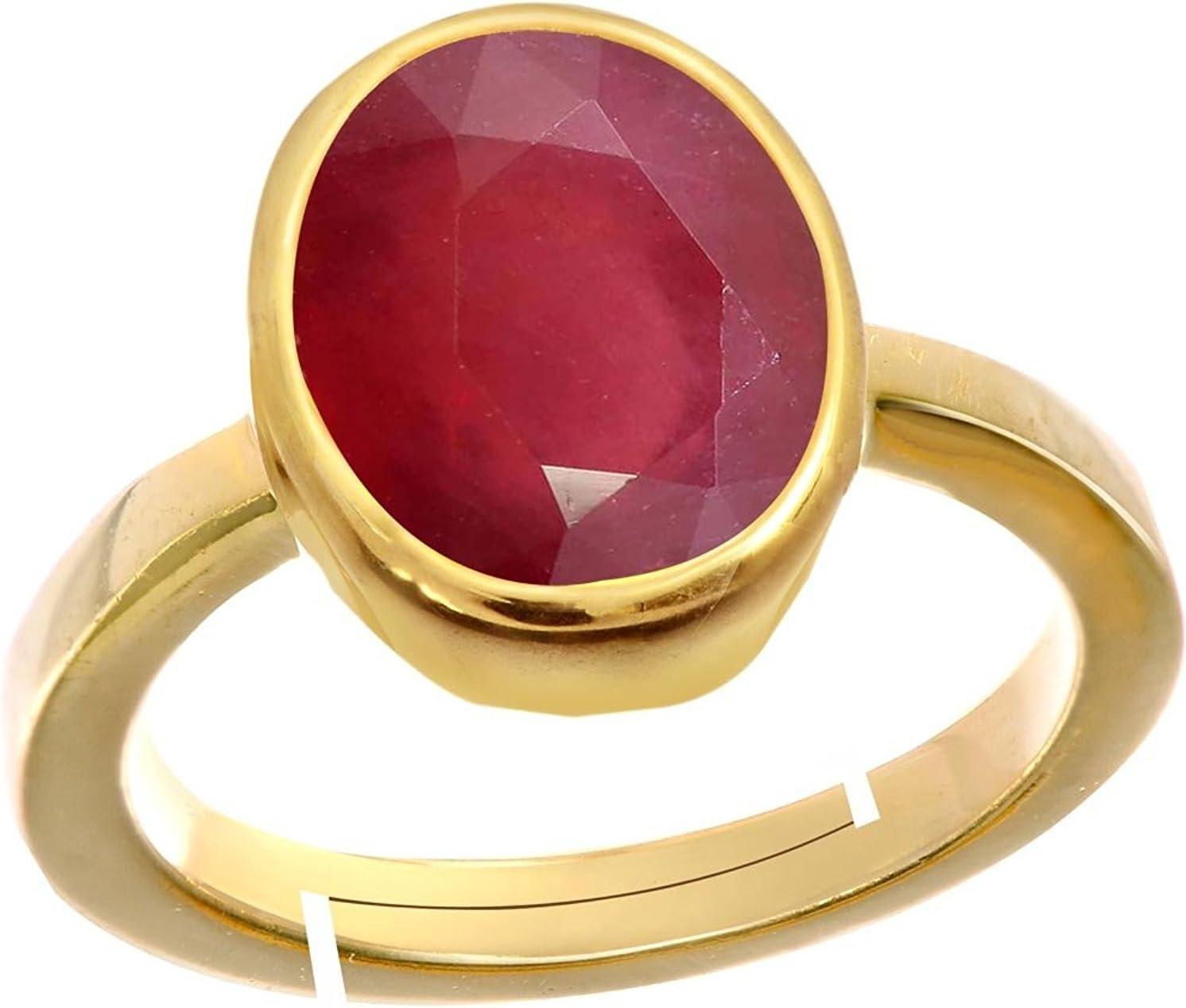 GEMS HUB Ruby//Manik Stone Panchdhatu Adjustable Ring for Men