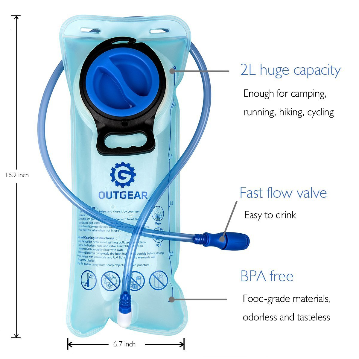 OUTGEAR Hydration Bladder 2L 70OZ Water Reservoir, BPA Free, Leak-Proof, Easy Clean for Bicycling Hiking Camping Hunting Running with Backpack by OUTGEAR (Image #2)