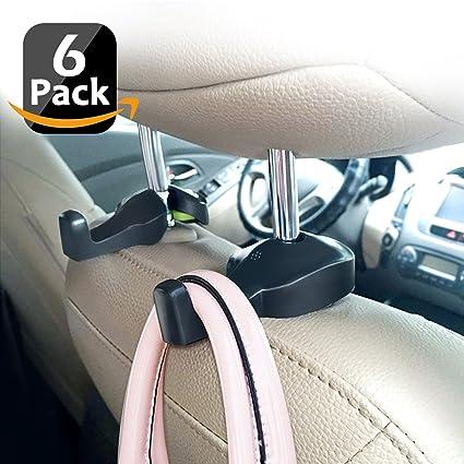 Car Seat Hanger 6 Pack Space Saving Auto Back Hidden Hooks Headrest For