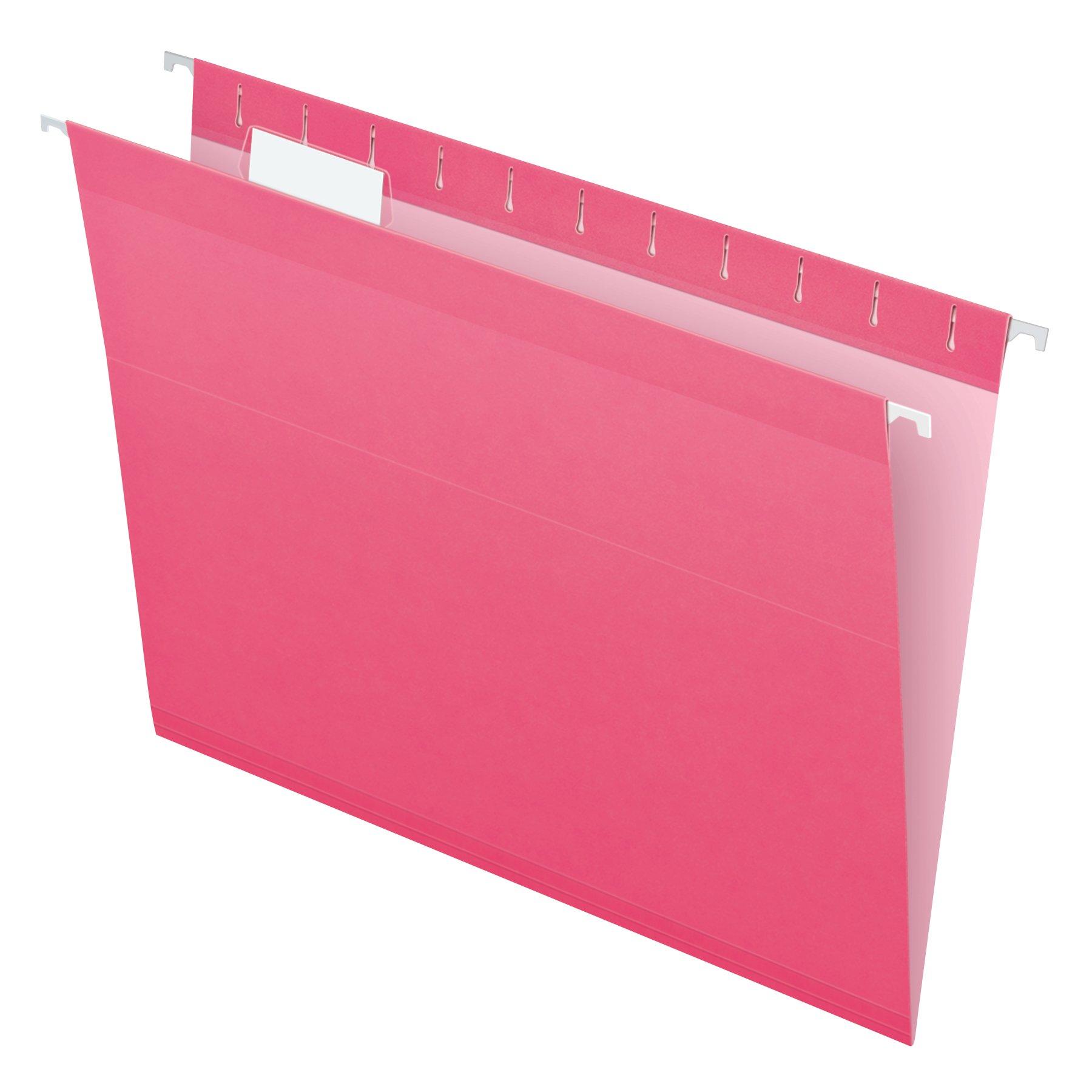 Pendaflex Reinforced Hanging File Folders, Letter Size, Pink, 1/5 Cut, 25/BX (4152 1/5 PIN)