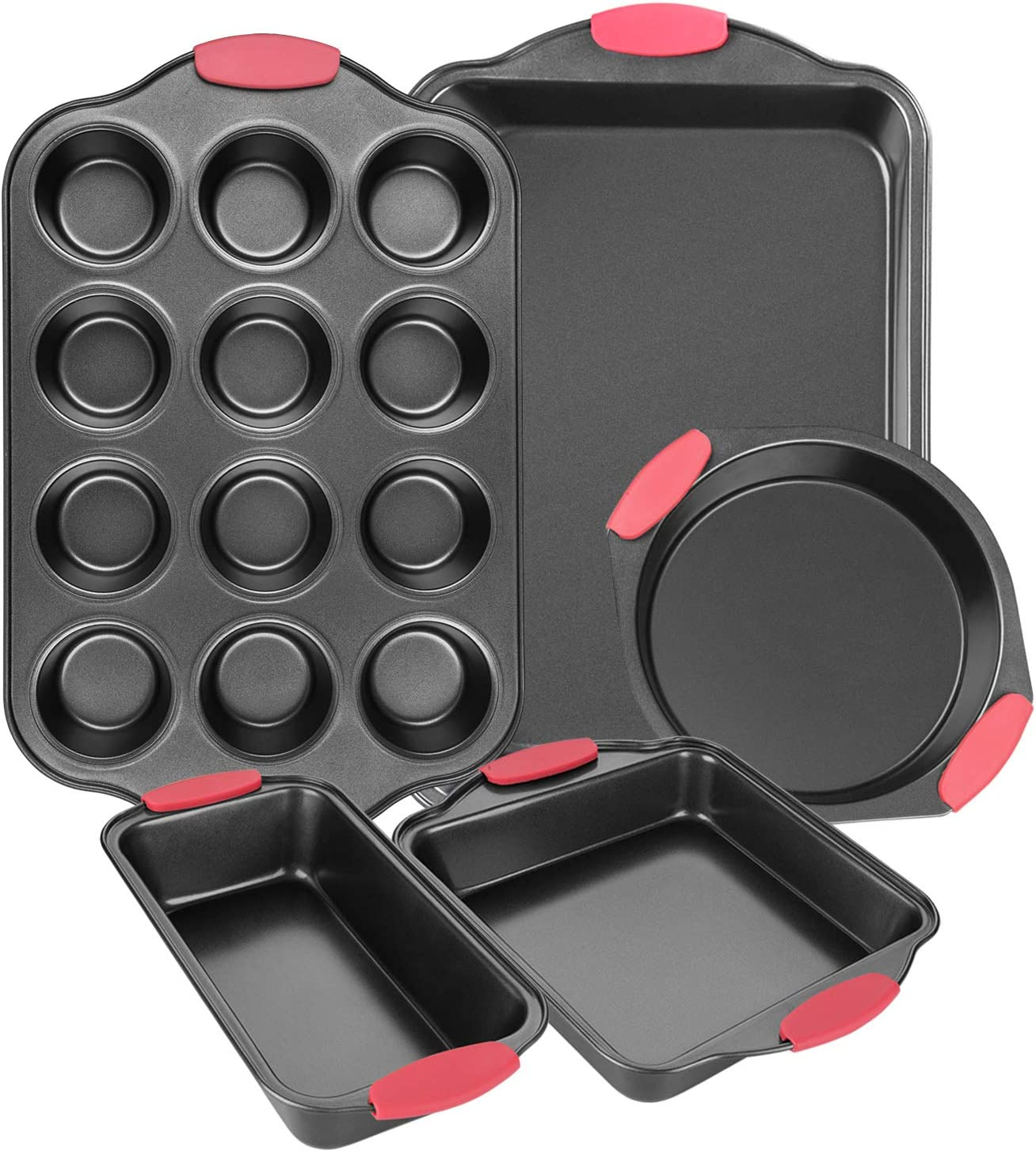 Bakeware Sets, Nonstick Baking sets with Grips includes Bread Pan, Cookie Sheet, Square Baking Pan, Round Cake Pan and Muffin Pan for Toaster Oven 5 Pcs, Grey