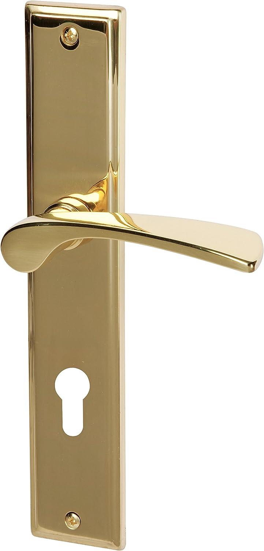 Sur de metal 32215850Haeusler-Shop Elvis–Placa Larga en latón pulido para puertas de entrada de viviendas con Completo (Acero/picaporte
