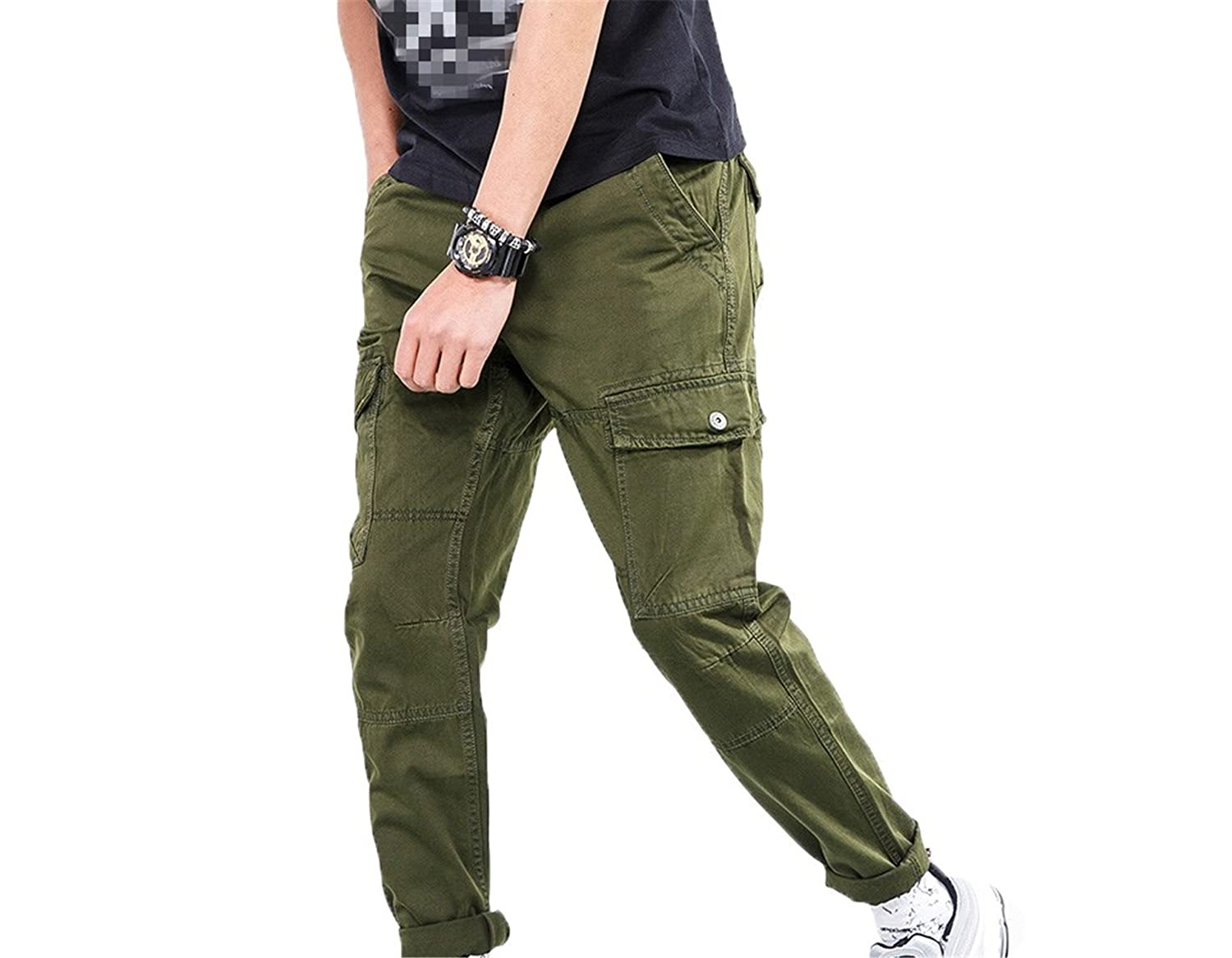 Nerefy Men Military Pants Loose Tactical Straight Long Trousers Joggers Pants