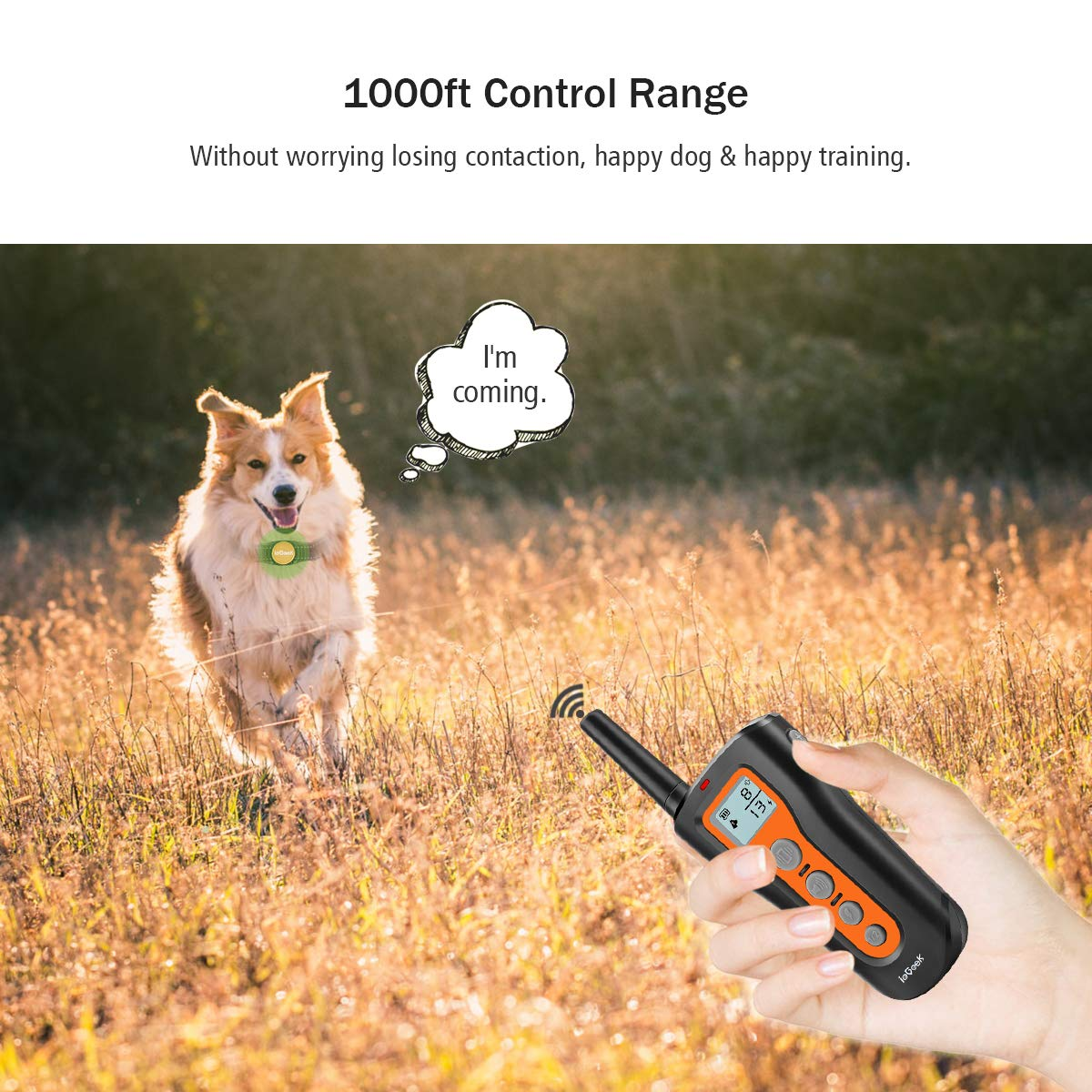 ieGeek Dog Training Collar Remote Shock Collars Up to 1000ft, Upgraded Rechargeable Waterproof Electric Professional Dog E-Collar with Beep, Vibration and Shock for Small Medium Large Dogs