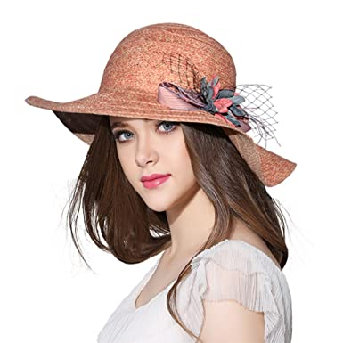46b5b8f1b10d1 Womens Reversible Straw Sun Hat Summer Outdoor Wide Brim Floppy Foldable  Beach Cap Red at Amazon Women s Clothing store
