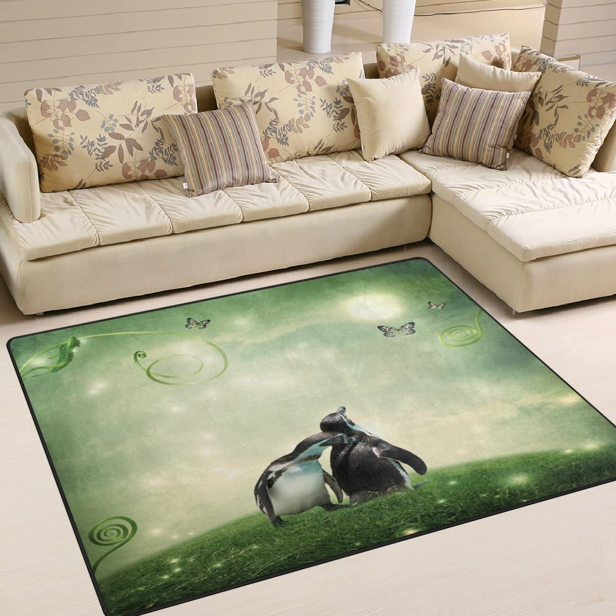 ALAZA Fantasy Landscape Love Theme Penguin Butterfly Area Rug Rugs for Living Room Bedroom 5 3 x4