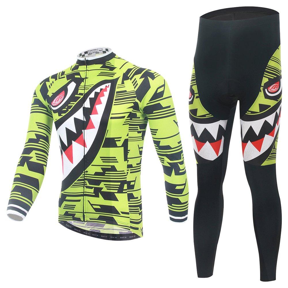 LongSpoz Spoz Men Cycling MTB Shark Grün Gel Padded Jersey Set