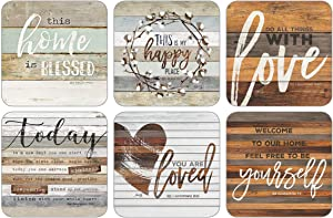 Legacy Publishing Group Marla Rae Cork-Backed Coaster Set, 6-Count, This Home Is Blessed