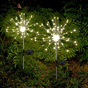 Solar Garden Lights Solar Firework Lights Solar Powered String Light with 2 Lighting Modes Twinkling and Steady-ON for Garden, Patio, Yard, Flowerbed, Parties (Warm White)