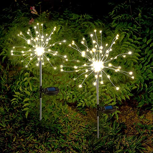 Solar Garden Lights Solar Firework Lights Solar Powered String Light with 2 Lighting Modes Twinkling and Steady-ON for Garden, Patio, Yard, Flowerbed, Parties Warm White